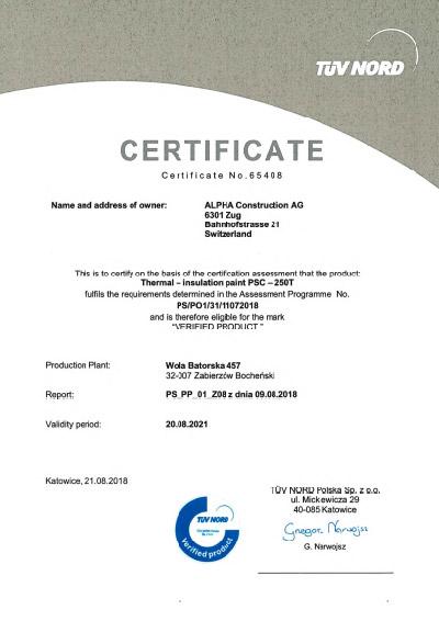 Certifikát TÜV - OVĚŘENÝ VÝROBEK