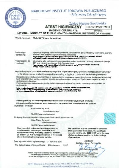 Hygienický certifikát